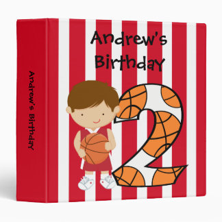 2nd Birthday Red and White Basketball Player 3 Ring Binder