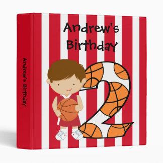 2nd Birthday Red and White Basketball Player Vinyl Binder