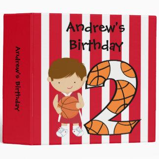 2nd Birthday Red and White Basketball Player Binder