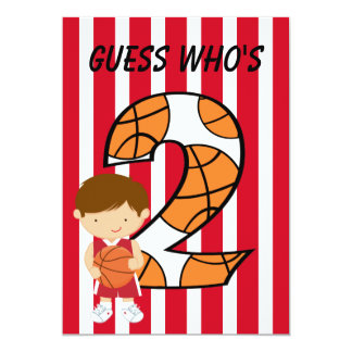 2nd Birthday Red and White Basketball Player Card