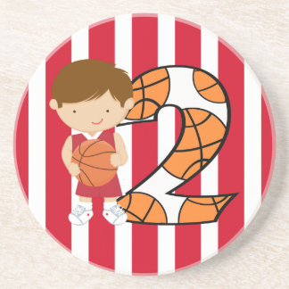 2nd Birthday Red and White Basketball Player Coaster