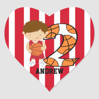2nd Birthday Red and White Basketball Player Heart Sticker