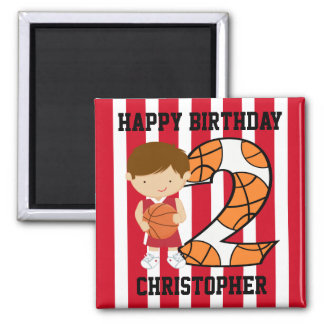 2nd Birthday Red and White Basketball Player 2 Inch Square Magnet