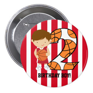 2nd Birthday Red and White Basketball Player Pinback Button