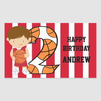 2nd Birthday Red and White Basketball Player Rectangular Sticker