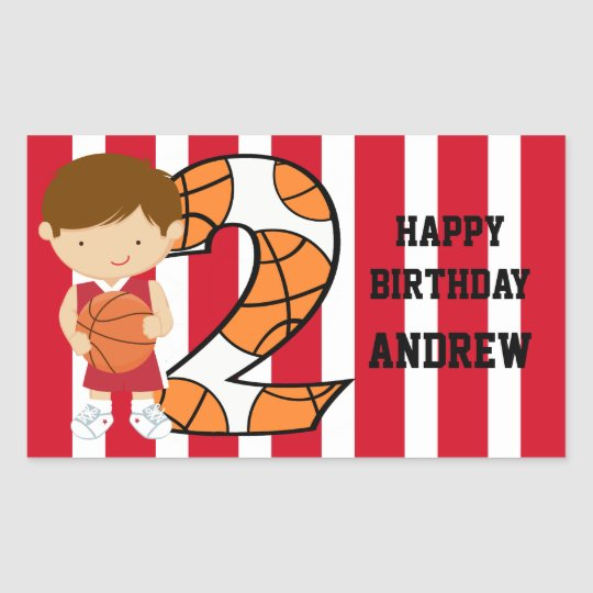 2nd Birthday Red and White Basketball Player Rectangular Sticker
