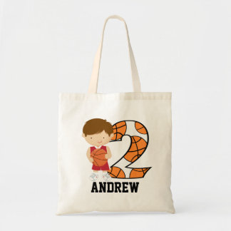 2nd Birthday Red and White Basketball Player Tote Bag