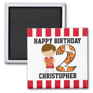 2nd Birthday Red and White Basketball Player v2 2 Inch Square Magnet