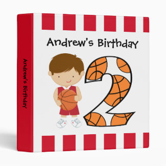 2nd Birthday Red and White Basketball Player v2 3 Ring Binders