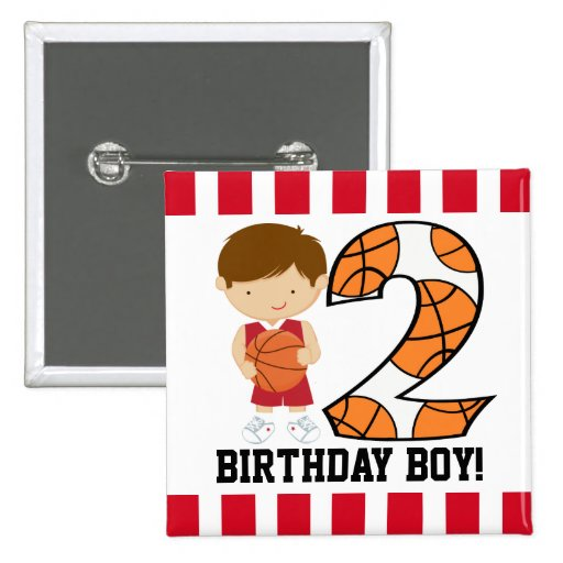 2nd Birthday Red and White Basketball Player v2 Button