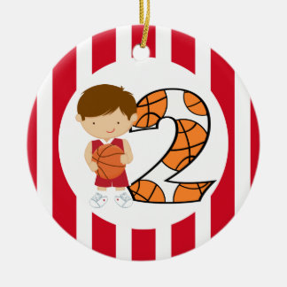 2nd Birthday Red and White Basketball Player v2 Ceramic Ornament