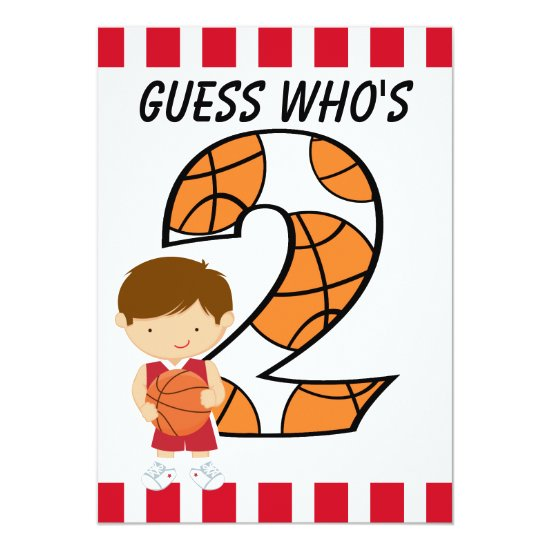 2nd Birthday Red and White Basketball Player v2 Invitation