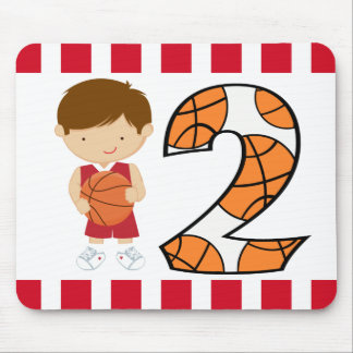 2nd Birthday Red and White Basketball Player v2 Mouse Pad