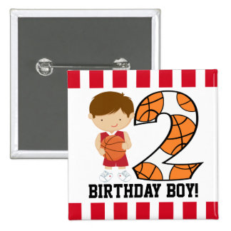 2nd Birthday Red and White Basketball Player v2 Pinback Button
