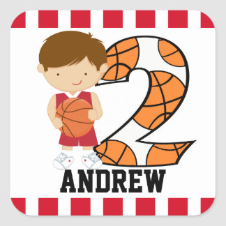 2nd Birthday Red and White Basketball Player v2 Square Sticker