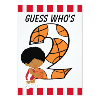 2nd Birthday Red and White Basketball Player v3 Card
