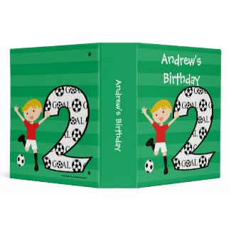 2nd Birthday Red and White Soccer Goal Binder
