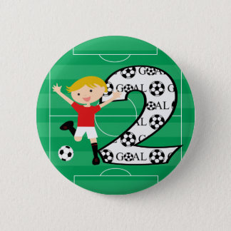 2nd Birthday Red and White Soccer Goal Button