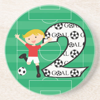 2nd Birthday Red and White Soccer Goal Coaster
