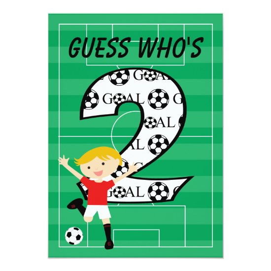 2nd Birthday Red and White Soccer Goal Invitation