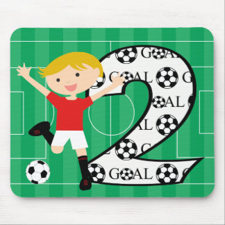 2nd Birthday Red and White Soccer Goal Mousepad