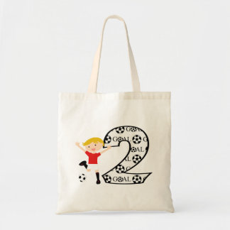2nd Birthday Red and White Soccer Goal Tote Bag