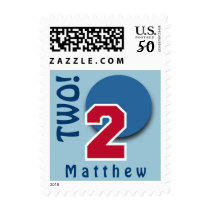 2nd Birthday RED Big Number and BLUE Circle C02 Postage