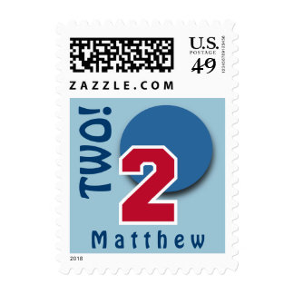 2nd Birthday RED Big Number and BLUE Circle C02 Stamp