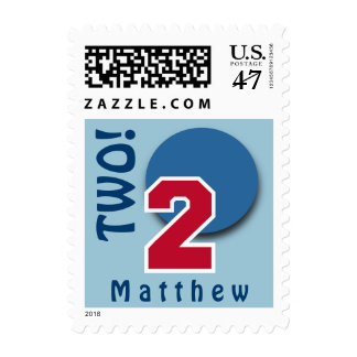 2nd Birthday RED Big Number and BLUE Circle C02 Postage Stamp