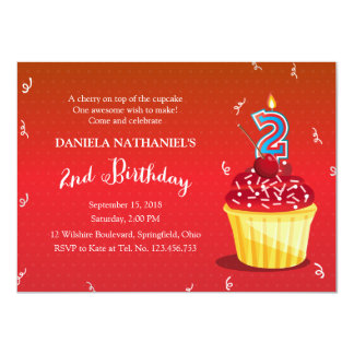 2nd Birthday Red Cupcake 4.5x6.25 Paper Invitation Card