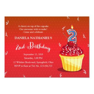 2nd Birthday Red Cupcake 4.5x6.25 Paper Invitation Card