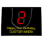 "[ Thumbnail: 2nd Birthday: Red Digital Clock Style ""2"" + Name Gift Bag ]"