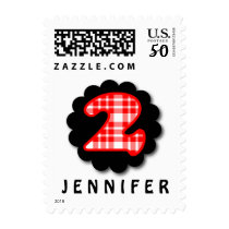 2nd Birthday RED PLAID and BLACK Lacy Circle A02 Postage