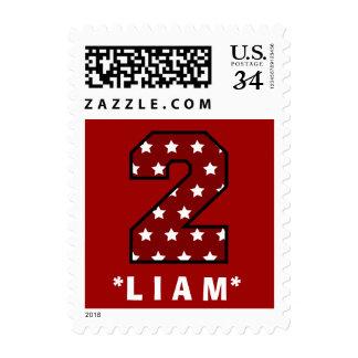 2nd Birthday RED Stars Big Number B14 Postage Stamp