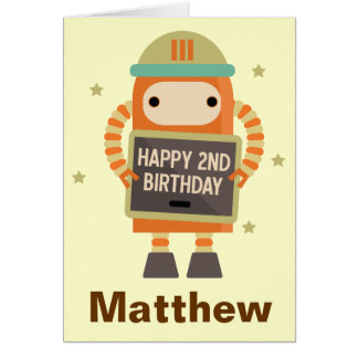 2nd Birthday Robot vintage personalized card