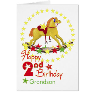 2nd Birthday Rocking Horse Stars Greeting Cards