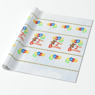 2nd Birthday Royal Teddy Bears Wrapping Paper