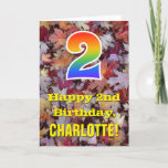 "[ Thumbnail: 2nd Birthday; Rustic Autumn Leaves; Rainbow ""2"" Card ]"