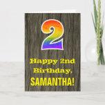 "[ Thumbnail: 2nd Birthday: Rustic Faux Wood Look, Rainbow ""2"" Card ]"