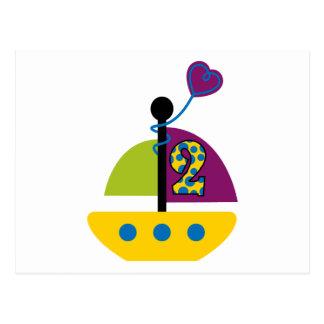 2nd Birthday Sailboat Post Card