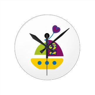 2nd Birthday Sailboat Round Clock