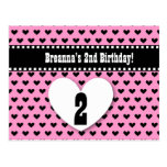 2nd Birthday Save Date Birthday A4 Black Heart Postcard