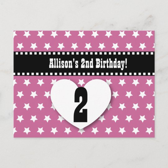 2nd birthday save the date birthday a2 pink stars announcement
