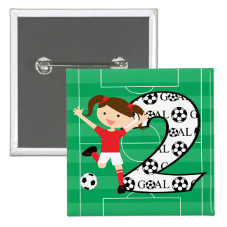 2nd Birthday Soccer Girl Red and White Button