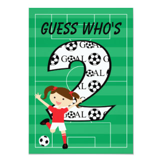 2nd Birthday Soccer Girl Red and White Card