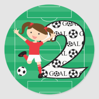 2nd Birthday Soccer Girl Red and White Classic Round Sticker
