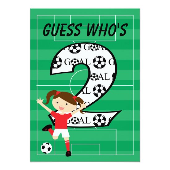 2nd Birthday Soccer Girl Red and White Invitation