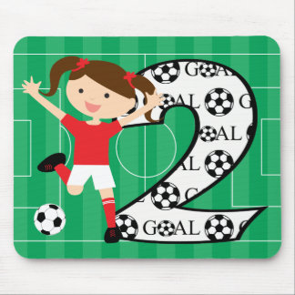 2nd Birthday Soccer Girl Red and White Mouse Pad