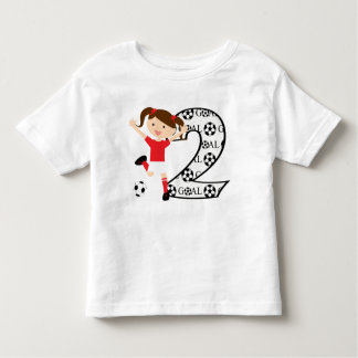 2nd Birthday Soccer Girl Red and White Toddler T-shirt