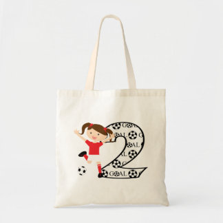 2nd Birthday Soccer Girl Red and White Tote Bag